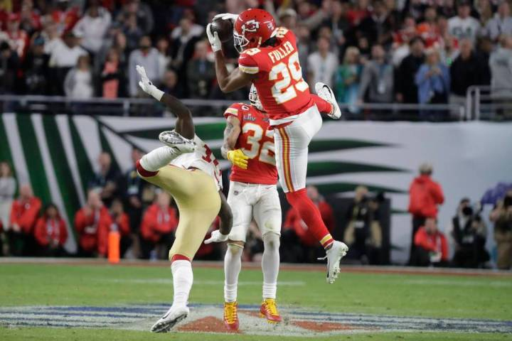Kansas City Chiefs' Kendall Fuller (29) intercepts the ball against the San Francisco 49ers dur ...
