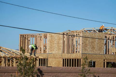 KB Home crews work on Desert Mesa neighborhood in North Las Vegas on Feb. 25. (Las Vegas Review ...