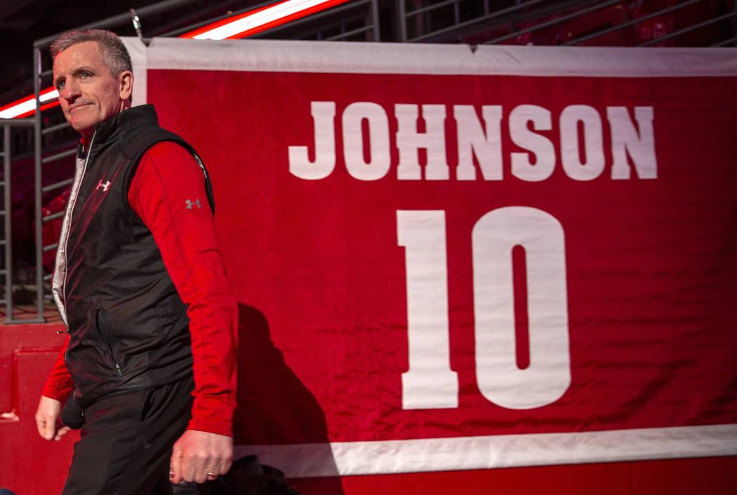 Wisconsin womenճ hockey head coach Mark Johnson is seen at the celebration for winning th ...