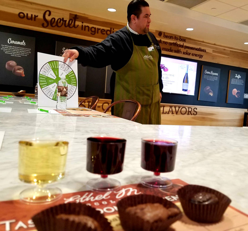 With help from a flavor-profile wheel, Chocolatier Vic Bernabe guides a recent audience through ...