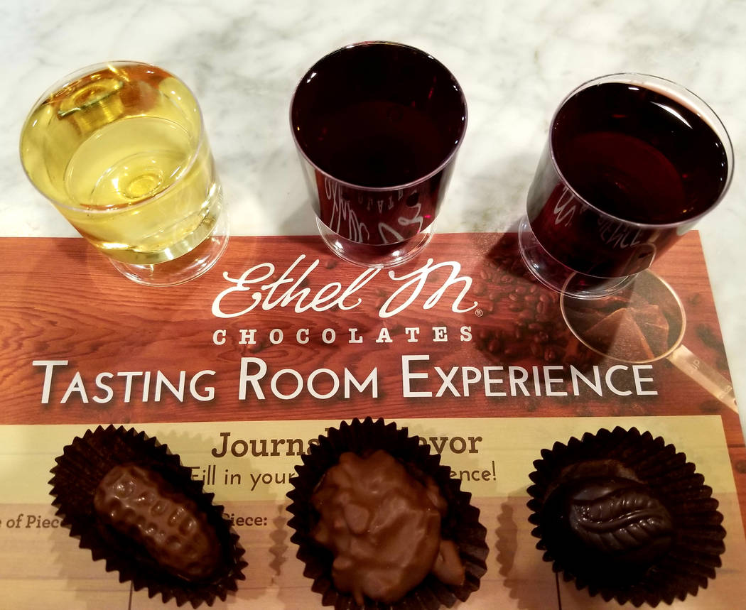 Three out of the four chocolate-and-wine combinations that come with Ethel M's $25 Chocolate an ...