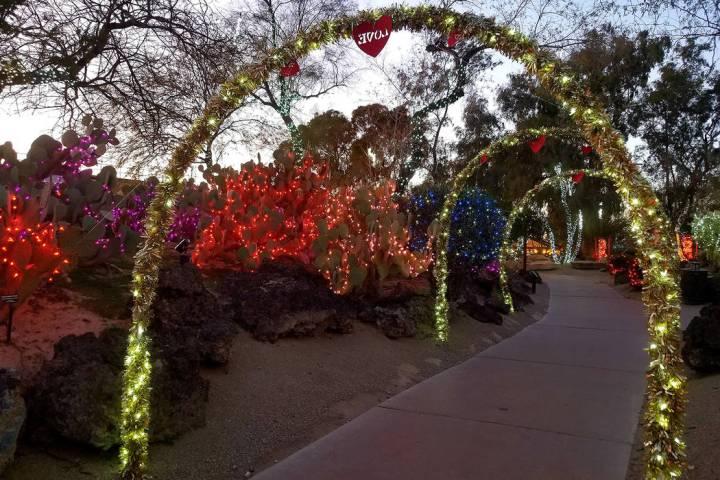 """Ethel M cactus garden's """"Lights of Love"""" display is seen at sunset. (Natalie Burt)"""