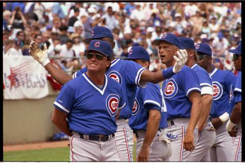 Jim Lefebvre, left, is seen during an exhibition game between the Chicago Cubs and Chicago Whit ...