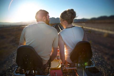 Rail Explorers Las Vegas, the outdoor attraction featuring pedal-powered rail bikes, offers two ...