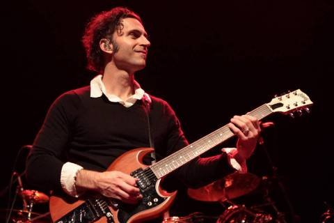 Musician Dweezil Zappa, son of Frank Zappa, performs with his band Zappa Plays Zappa at Rams He ...