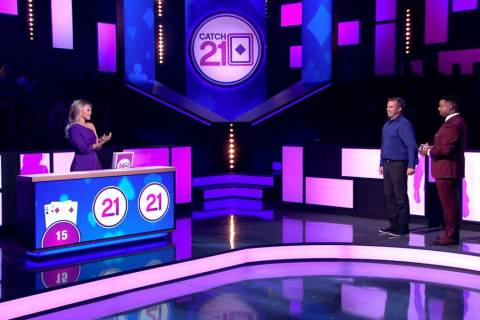"""""""Catch 21"""" with dealer Witney Carson, left, and host Alfonso Riberio, right, films in ..."""