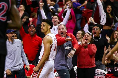 UNLV's Marvin Coleman celebrates after banking in a shot in the final second of the game agains ...