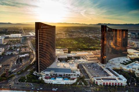 The Encore and Wynn during an aerial photo on Wednesday, Oct. 16, 2019, in Las Vegas. (L.E. Bas ...