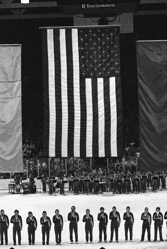 FILE --In this Feb. 24, 1980 file photo, members of the 1980 USA Olympic ice hockey team stand ...