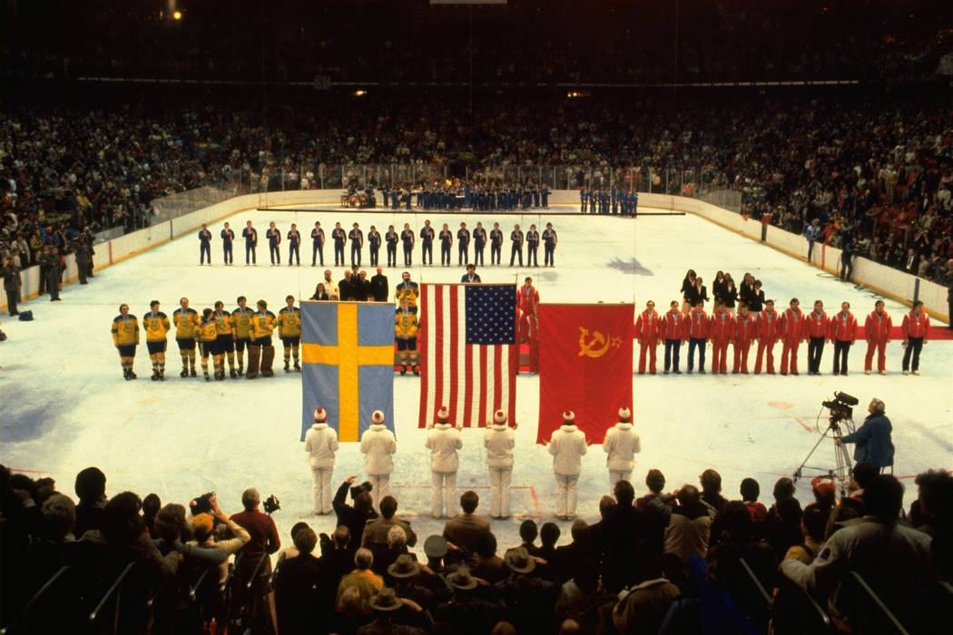 FILE --In this Feb. 24, 1980 file photo, U.S., Swedish, and Soviet teams line up to receive the ...