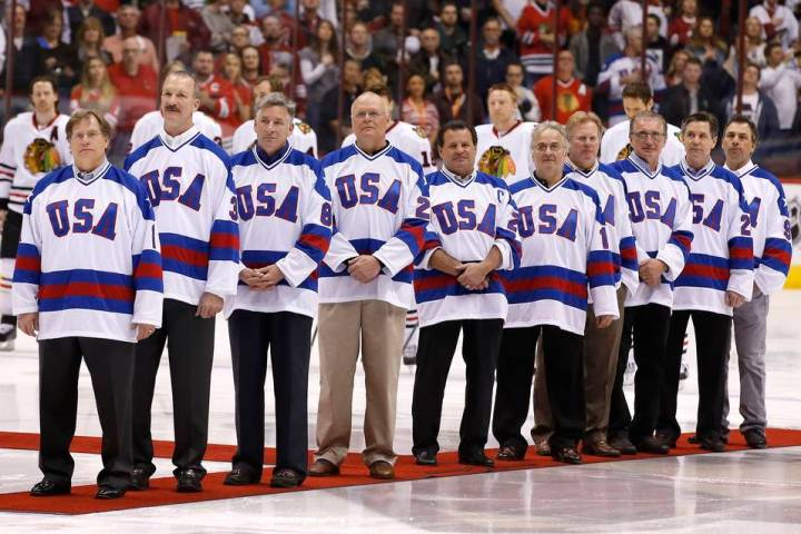 "Members of the gold medal 1980 ""Miracle on Ice"" U.S. Olympic hockey team are honored ..."