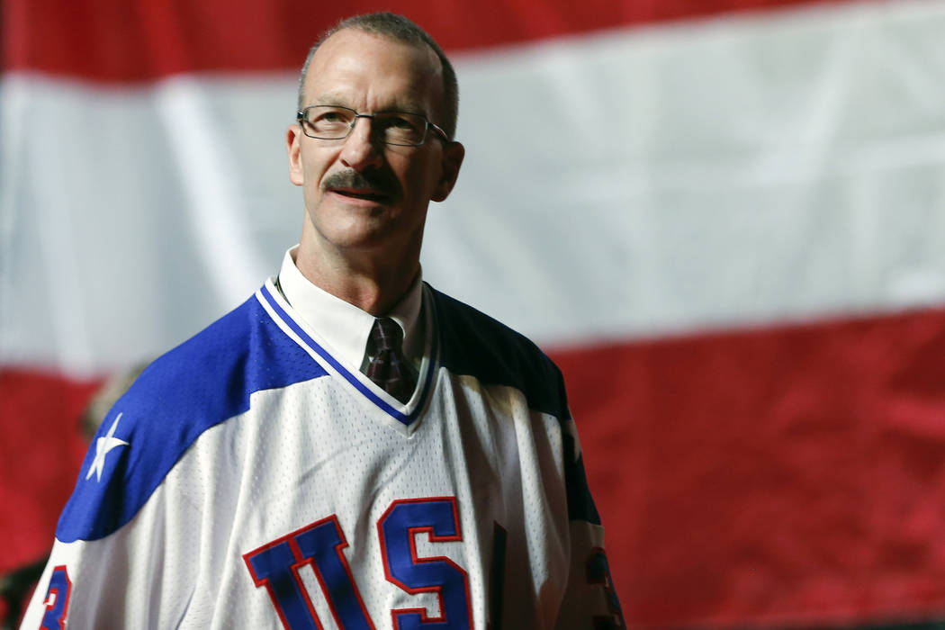 "Ken Morrow of the 1980 U.S. ice hockey team walks on stage during a ""Relive the Miracle&qu ..."