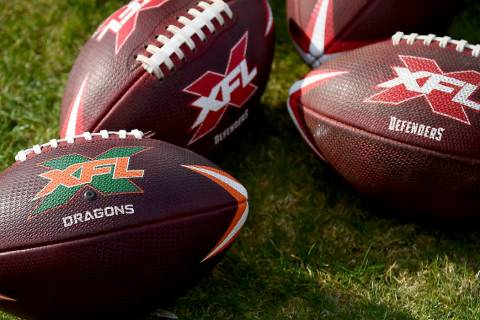 A detailed view of official XFL footballs during the first half of an XFL football game between ...