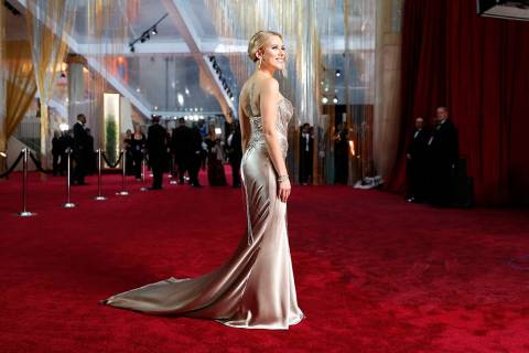Scarlett Johansson arrives at the Oscars on Sunday, Feb. 9, 2020, at the Dolby Theatre in Los A ...