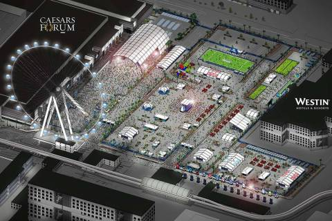 A rendering of the fan experience area located between Caesars Forum and the Westin during the ...