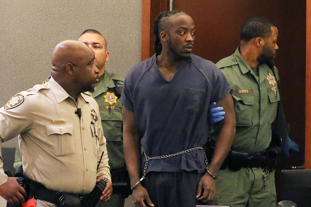 Durwin Allen, charged in the killings of Myron Manghum, 33, and Alyssa Velasco, 27, led into th ...