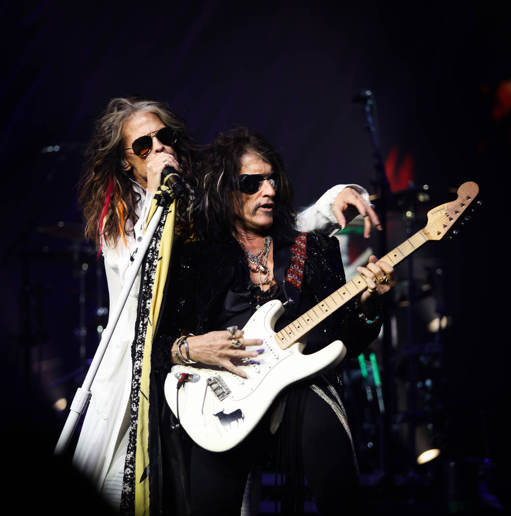 """Steven Tyler and Joe Perry of Aerosmith is shown on opening night of its """"Deuces Are Wild"""" resi ..."""
