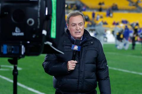 NBC Sports Reporter Al Michaels reports from the sidelines during warmups before an NFL game be ...