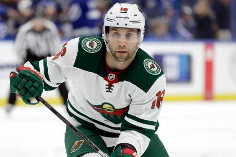 Minnesota Wild left wing Jason Zucker (16) during the first period of an NHL hockey game agains ...