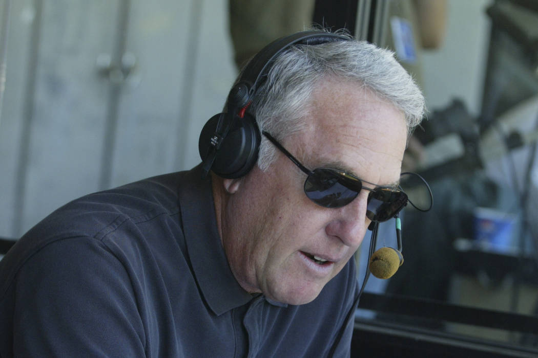 Former UNLV basketball announcer and current Oakland A's broadcaster Ken Korach gives the play- ...