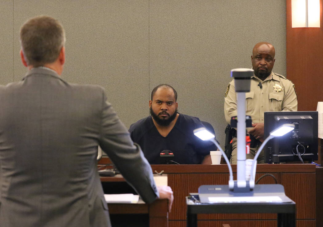 Peter Christiansen, left, attorney for murder suspect Durwin Allen, questions Johnny Brooks, th ...