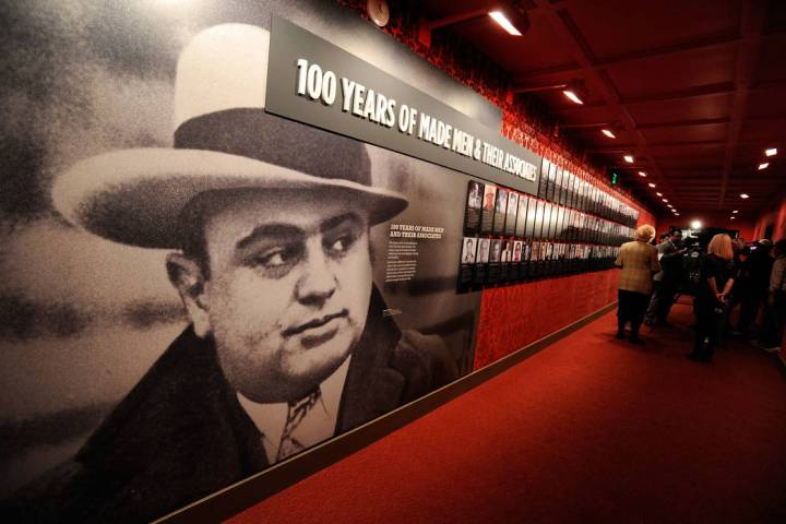 One of the displays featuring an image of Al Capone at The Mob Museum - National Museum of Orga ...
