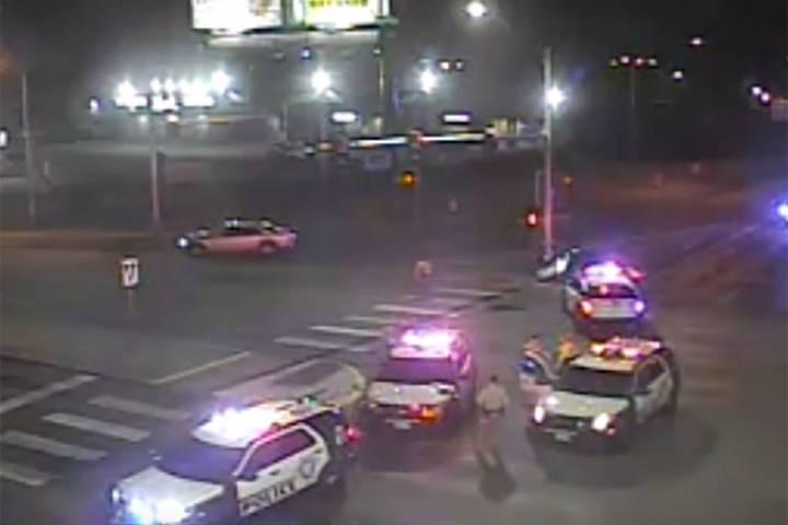 Las Vegas police block off Charleston Boulevard after a crash Wednesday, Feb. 12, 2020. (RTC ca ...