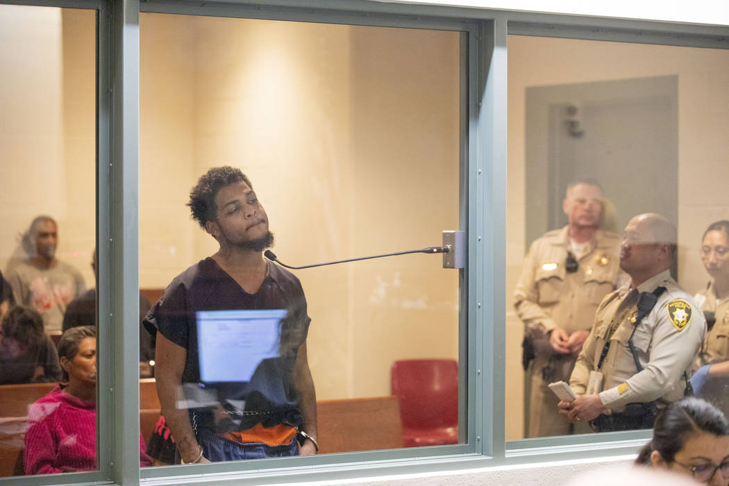 Christian Walker, 19, makes an initial appearance in the Las Vegas Justice Court at the Regiona ...