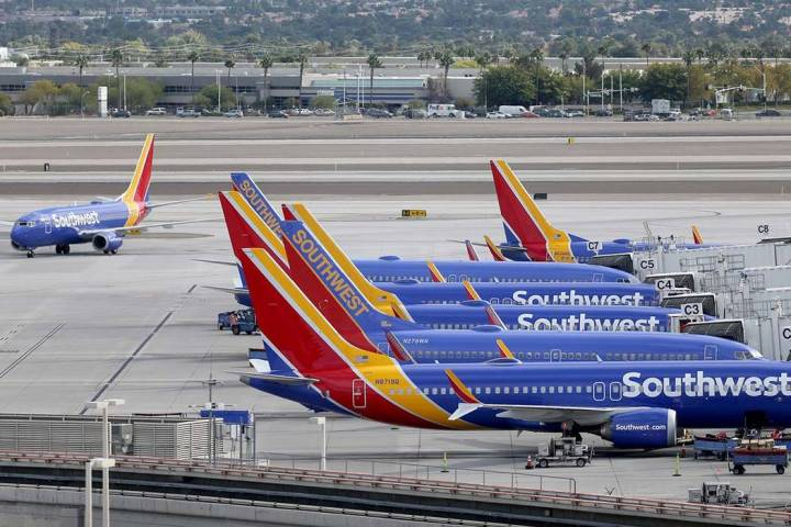 A Southwest Airlines plane taxis at McCarran International Airport in Las Vegas. (K.M. Cannon L ...