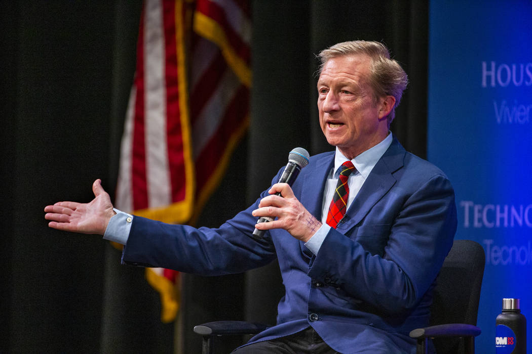 Tom Steyer speaks to the audience during the League of United Latin American Citizens President ...