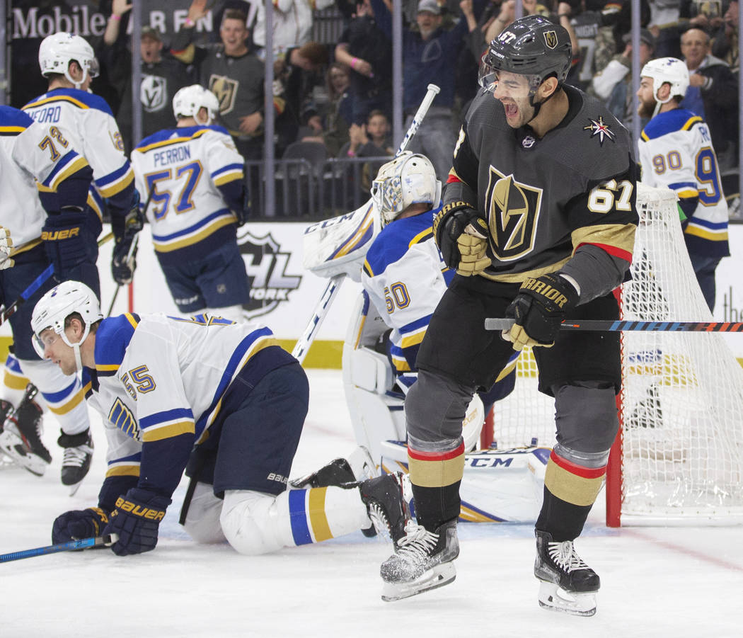 Vegas Golden Knights left wing Max Pacioretty (67) celebrates after scoring against St. Louis B ...