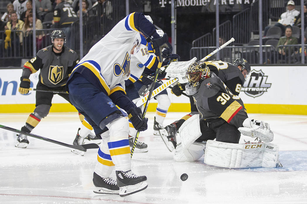 Vegas Golden Knights goaltender Malcolm Subban (30) makes a save against St. Louis Blues left w ...