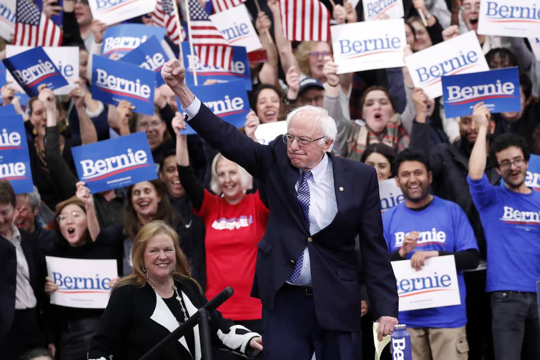 Democratic presidential candidate Sen. Bernie Sanders, I-Vt., with his wife Jane O'Meara Sander ...