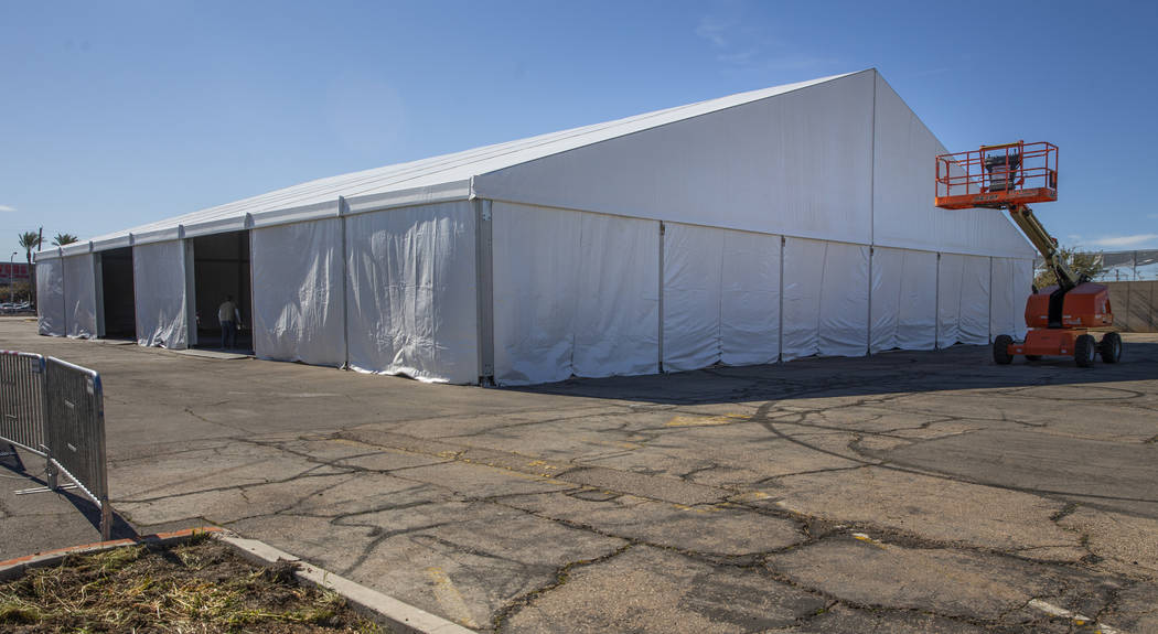 A tent erected in the parking lot at the Adelson Clinic for Drug Abuse Treatment & Research wil ...