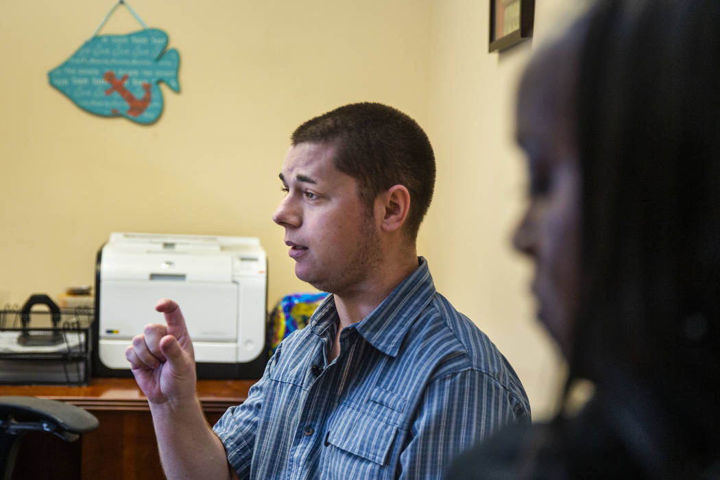 Joshua Domsky talks beside counselor Kairo Henderson about the progress he has made as a patien ...