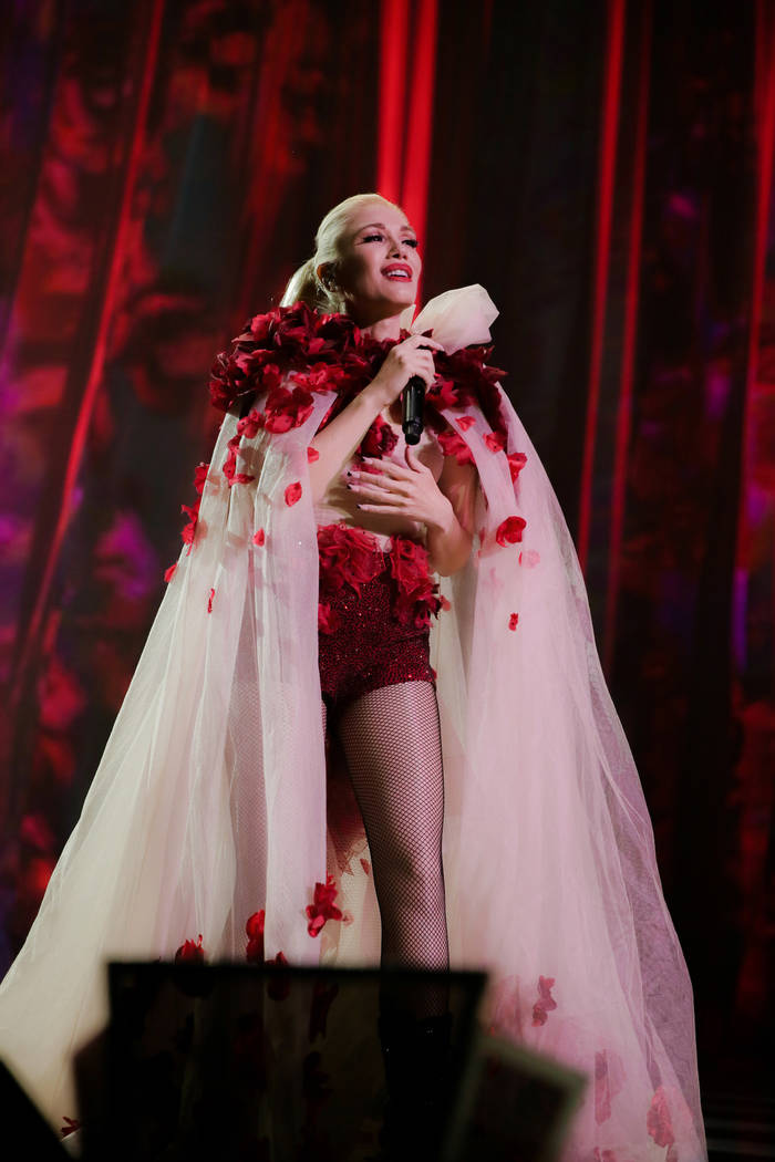 """Zappos Theater at Planet Hollywood headliner Gwen Stefani is shown during her """"Just A Girl"""" pro ..."""