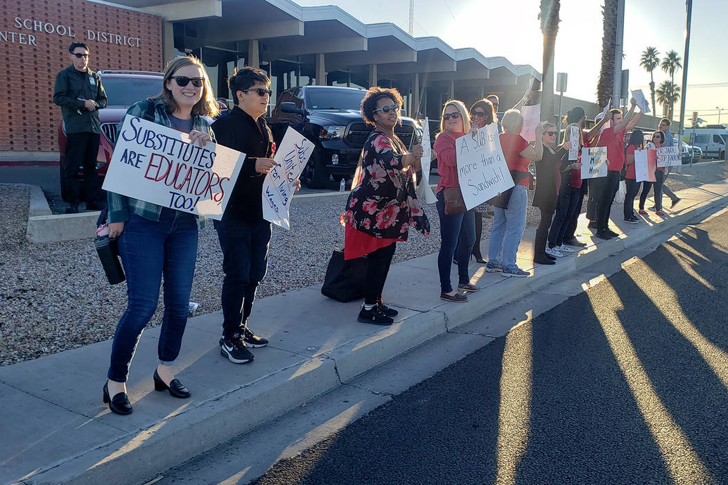 A group of Clark County School District substitute teachers protest ahead of the board meeting ...