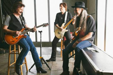 Tom Johnston, John McFee and Patrick Simmons, from left, of the Doobie Brothers are shown in a ...
