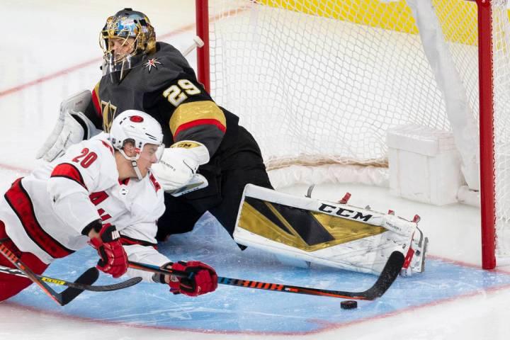 Vegas Golden Knights goaltender Marc-Andre Fleury (29) makes a save against Carolina Hurricanes ...