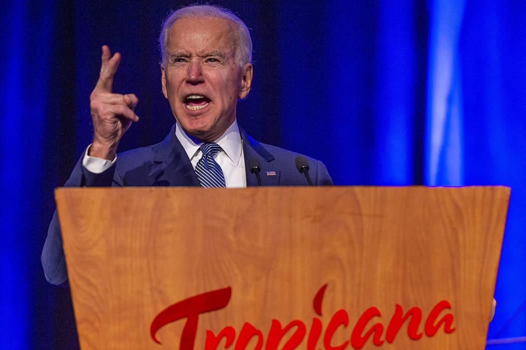 Former Vice President Joe Biden talks about healthcare during the Clark County Democrats Kick O ...