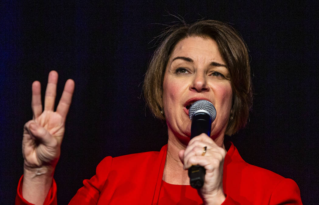 Sen. Amy Klobuchar, D-Minn.,talks about her past election wins during the Clark County Democrat ...