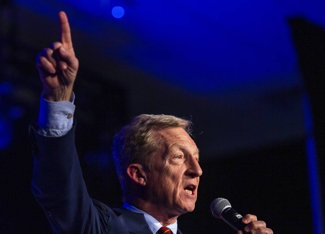 Businessman Tom Steyer talks about climate change during the Clark County Democrats Kick Off to ...