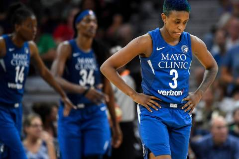 Danielle Robinson (3), seen as a member of the Minnesota Lynx in a July 2018 games against Las ...