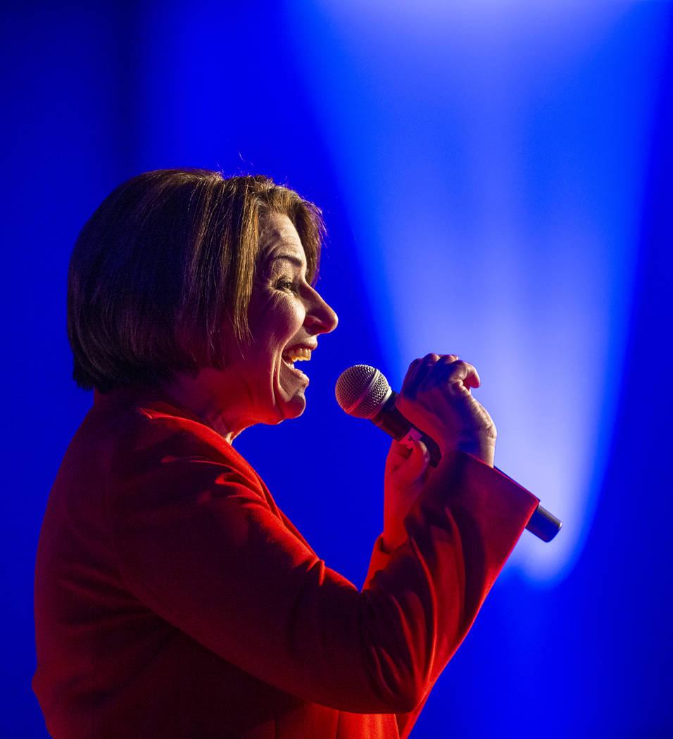 Sen. Amy Klobuchar, D-Minn.,talks about her humble upbringings during the Clark County Democrat ...