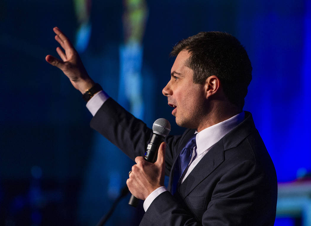 Former South Bend, Ind., Mayor Pete Buttigieg talks about a more inclusive country during the C ...