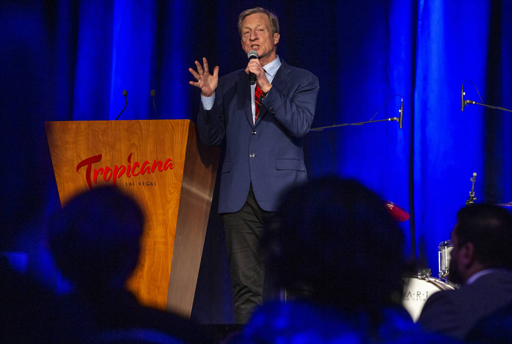 Businessman Tom Steyer talks about the economy during the Clark County Democrats Kick Off to Ca ...