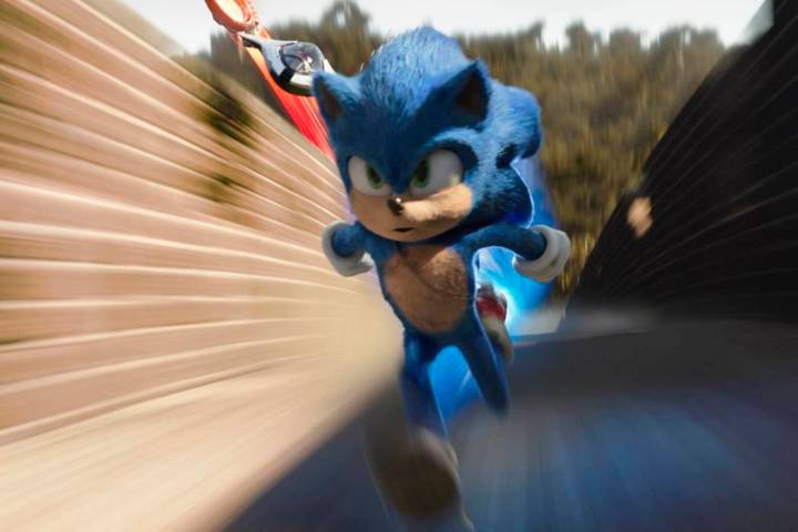 """Sonic, voiced by Ben Schwartz, stars in a scene from """"Sonic the Hedgehog ."""" (Paramount Pictures ..."""