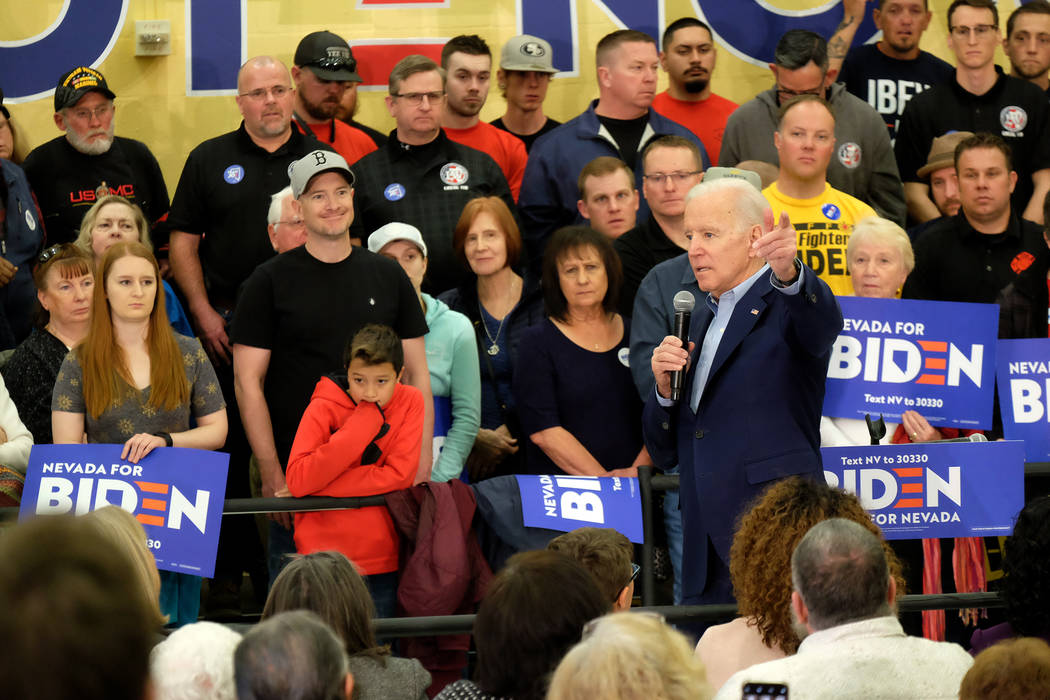 Former Vice President Joe Biden spoke to several hundred supporters and later greeted them one ...