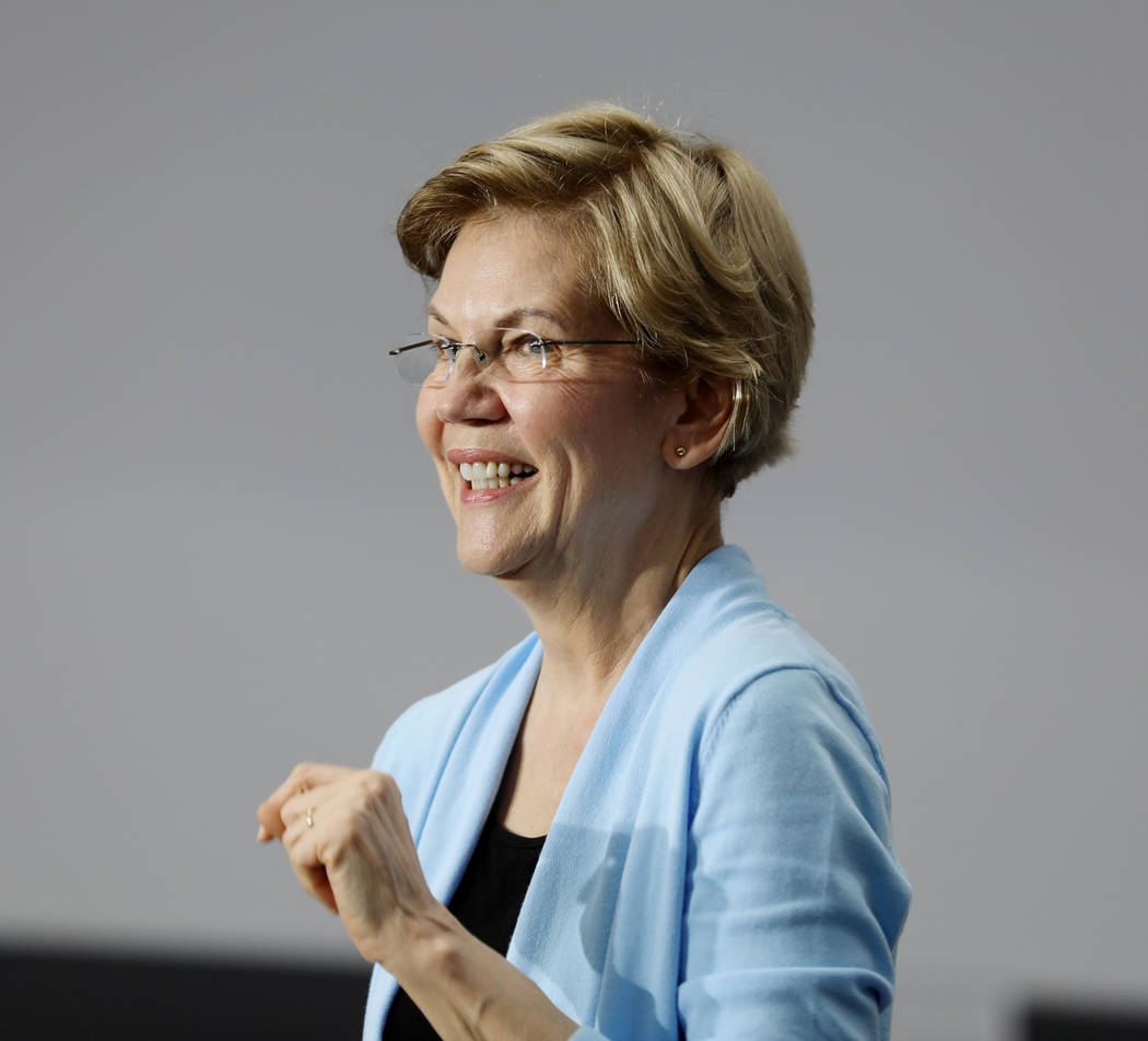 Sen. Elizabeth Warren speaks ahead of a town hall at College of Southern Nevada Henderson campu ...