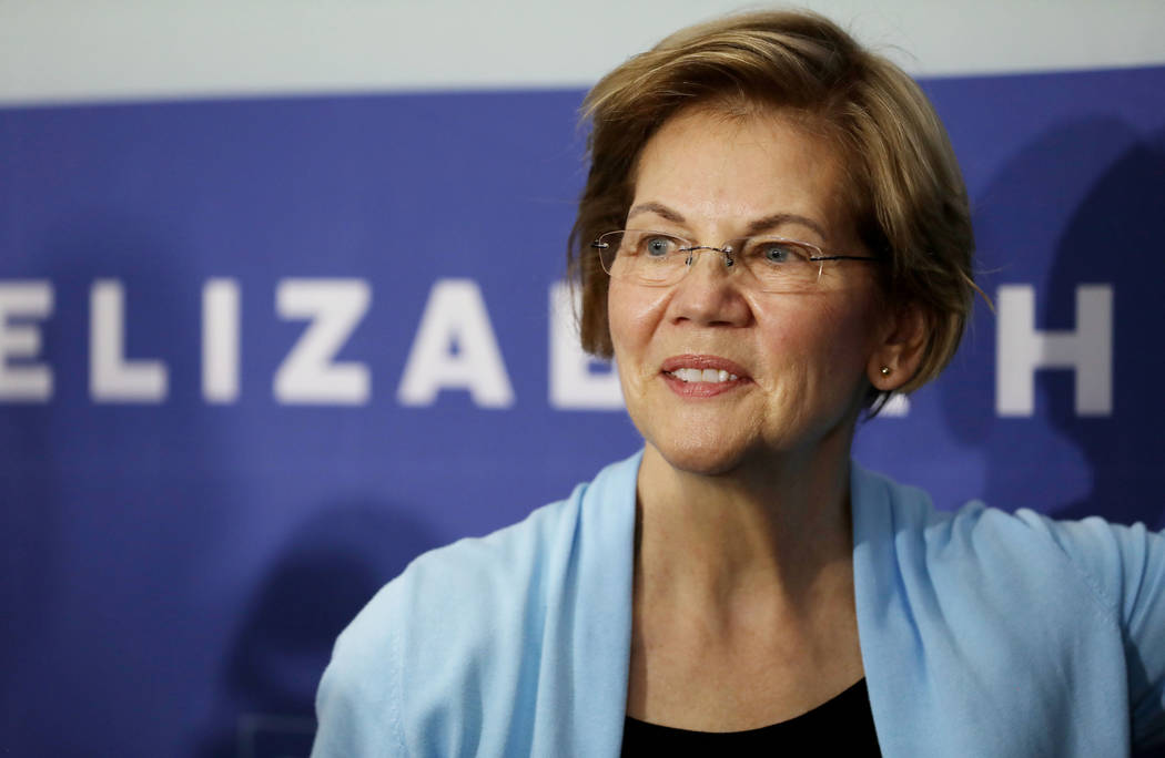 Sen. Elizabeth Warren is photographed after speaking ahead of a town hall at College of Souther ...